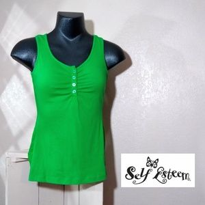 Self Esteem Green Tank Top Lace Sides